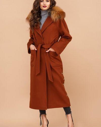 Кашемировое пальто с мехом золотое Rozetka