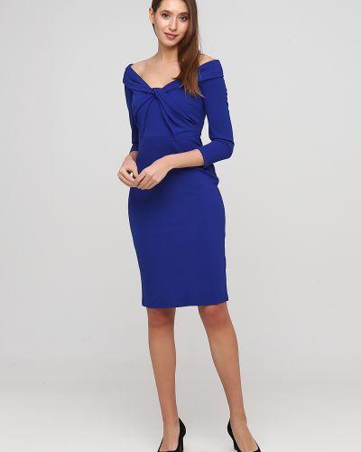 Вечернее платье с открытыми плечами - синее City Goddess