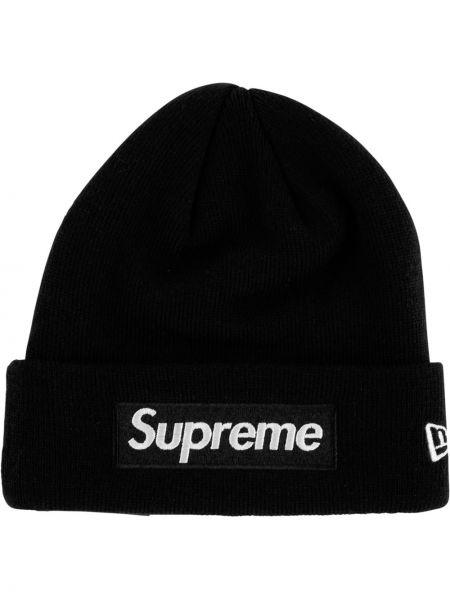 Prążkowana czarna czapka bawełniana Supreme