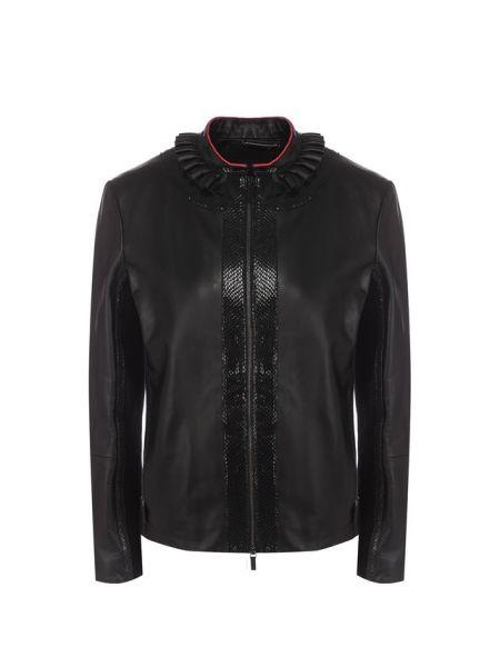 Вечерняя приталенная футбольная кожаная куртка с воротником Giorgio Armani