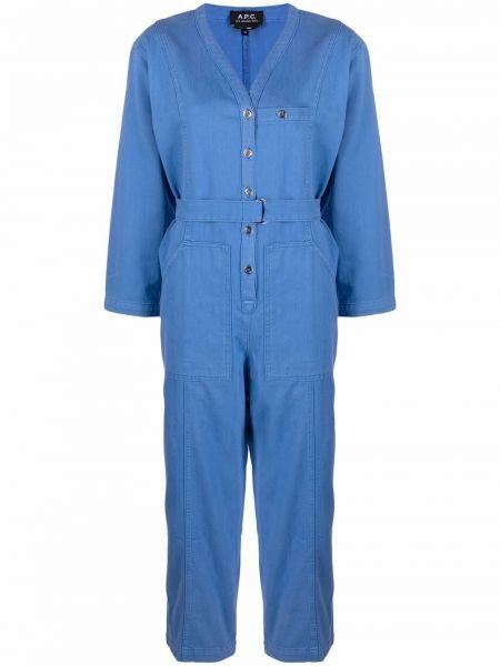 Хлопковый синий джинсовый комбинезон с карманами A.p.c.