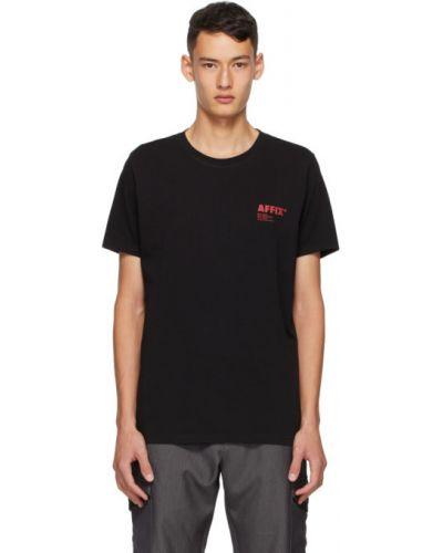 Хлопковая с рукавами черная рубашка с короткими рукавами с воротником Affix