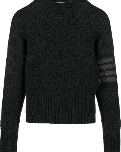 Серый шерстяной джемпер на пуговицах в рубчик Thom Browne