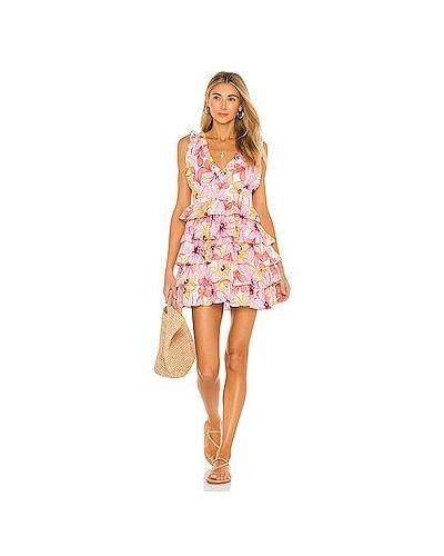 Розовое платье мини с оборками Sundress