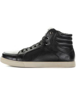 Высокие кеды черные кожаный Skechers