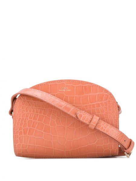 Розовая с ремешком маленькая сумка из натуральной кожи A.p.c.