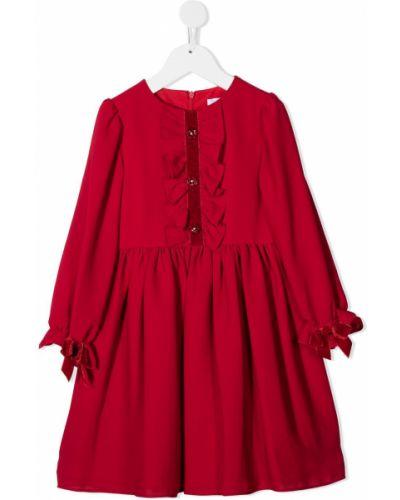 Красное платье с рукавами на пуговицах с вырезом круглое Patachou