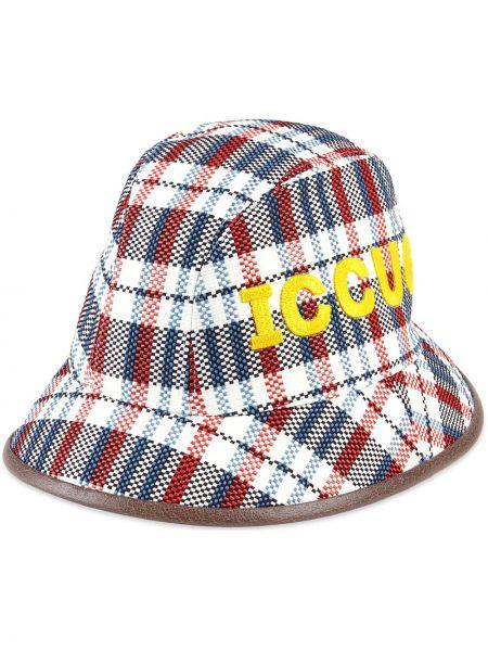 Niebieski kapelusz skórzany z haftem Gucci