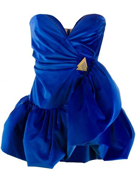 Niebieska złota sukienka mini rozkloszowana Attico
