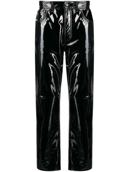 Bawełna bawełna czarny spodnie o prostym kroju z paskiem Acne Studios