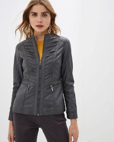 Кожаная куртка осенняя серая Wallis