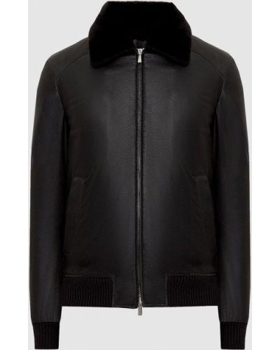 Кожаная куртка с мехом - черная Enrico Mandelli