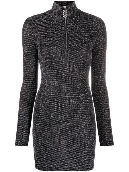 Черное прямое приталенное платье макси с длинными рукавами Gcds