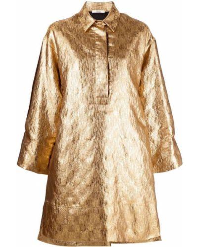 Платье макси с длинными рукавами - золотое Odeeh