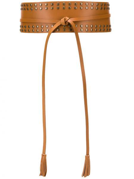 Коричневый кожаный ремень с заклепками с кисточками Twin-set