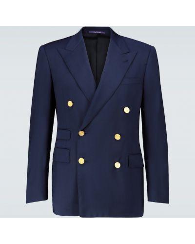 Шерстяной синий пиджак двубортный Ralph Lauren Purple Label