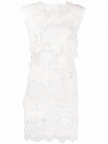 Шелковое кружевное белое платье мини Ermanno Scervino