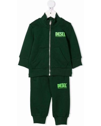 Zielony dres bawełniany z printem Diesel Kids