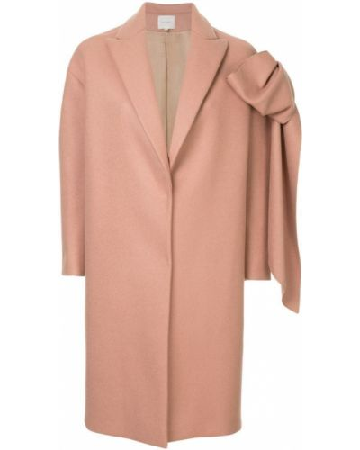 Прямое розовое шерстяное пальто Delpozo