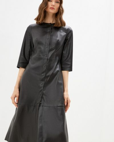 Кожаное платье - черное Zarina