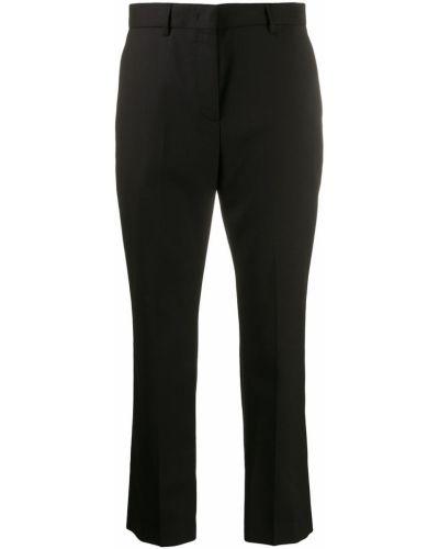 Шерстяные черные укороченные брюки на крючках Paul Smith
