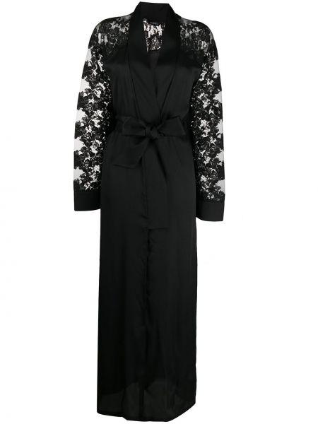 Czarny szlafrok bawełniany koronkowy La Perla