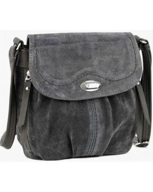 Кожаная сумка через плечо серая Vita