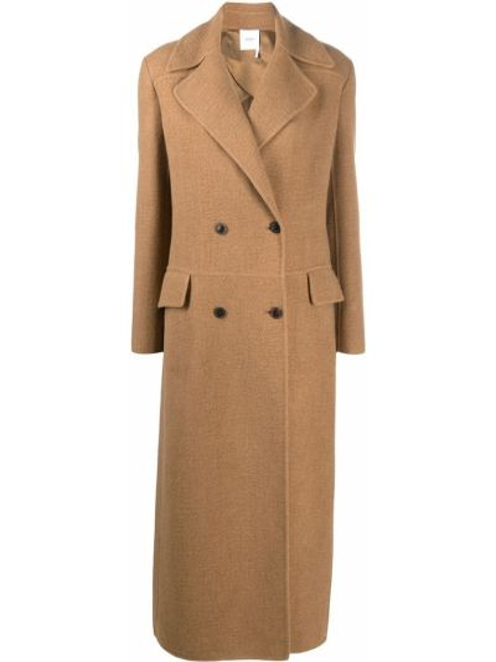 Коричневое шерстяное длинное пальто двубортное Agnona
