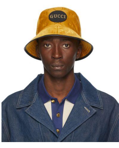 Nylon czarny kapelusz prążkowany z siatką Gucci