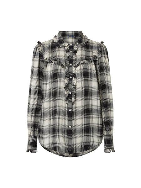 Czarny bluzka z falbankami z kołnierzem z wiskozy Polo Ralph Lauren