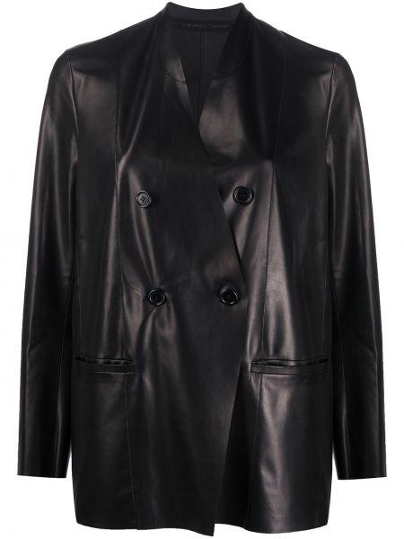 Черный кожаный пиджак двубортный Salvatore Santoro