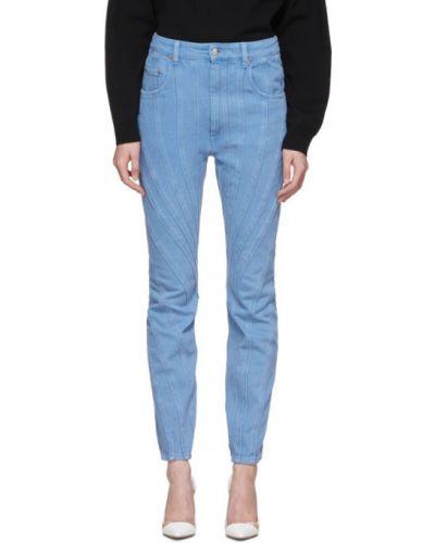 Серебряные джинсы стрейч с заплатками Mugler