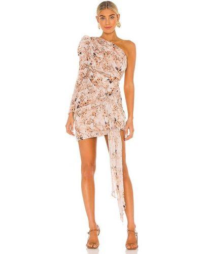 Деловое бежевое платье на одно плечо Misha Collection