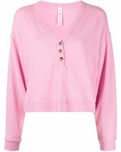 Różowa bluza długa z długimi rękawami z dekoltem w serek Alo Yoga