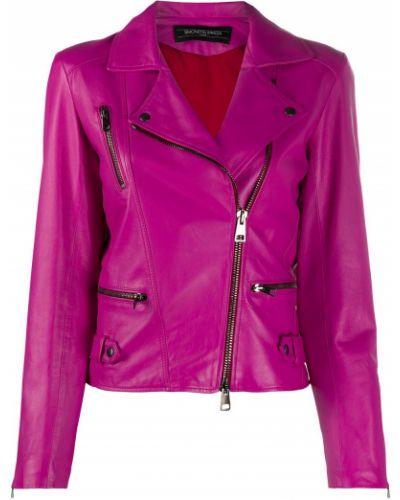 Розовая кожаная куртка байкерская Simonetta Ravizza