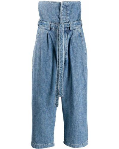 Широкие джинсы укороченные синие Loewe