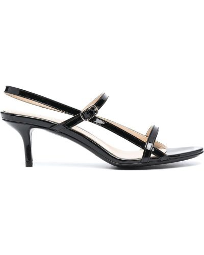Черные кожаные босоножки на каблуке P.a.r.o.s.h.
