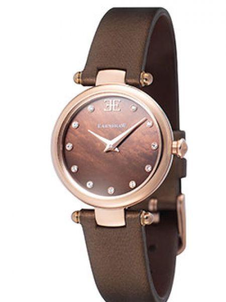 Сатиновые с ремешком коричневые кварцевые часы с пряжкой Earnshaw