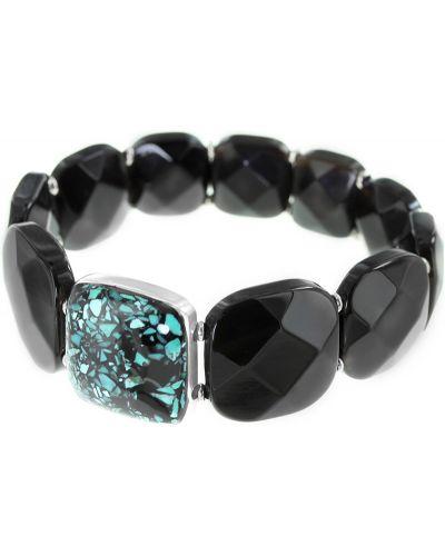 Кожаный браслет с агатом черный Nature Bijoux