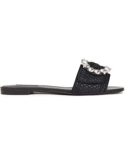 Черные кожаные шлепанцы на каблуке Dolce & Gabbana