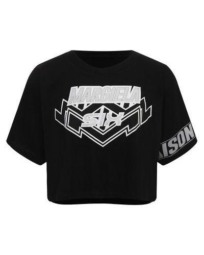 Хлопковая футболка - черная Mm6