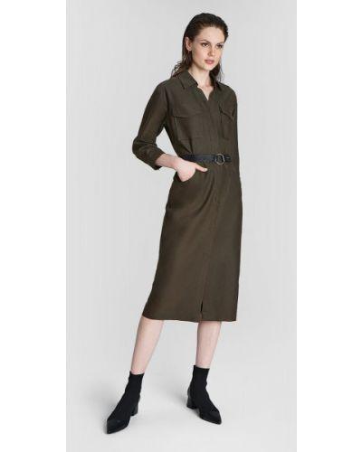 С рукавами зеленое платье макси с поясом Ostin