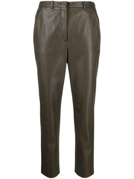 Хлопковые зеленые укороченные брюки узкого кроя Incotex