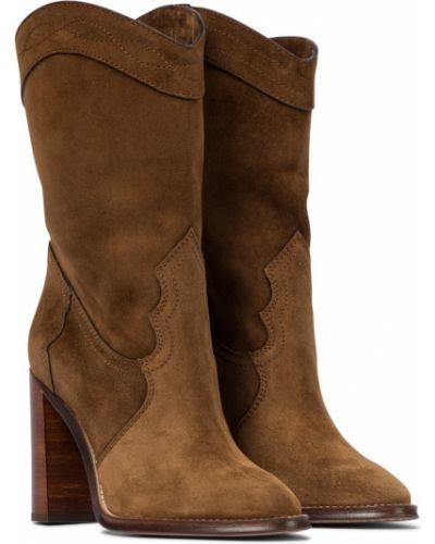Brązowy skórzany kowboj buty Saint Laurent