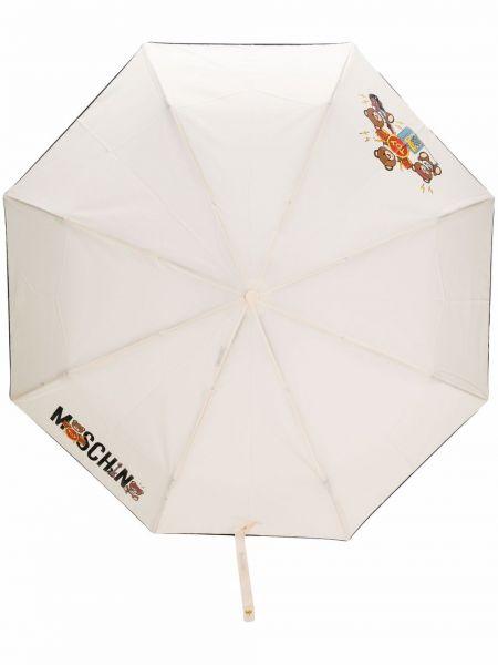 Biały parasol z printem Moschino