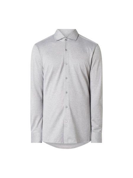 Bawełna srebro koszula z mankietami z długimi rękawami Boss