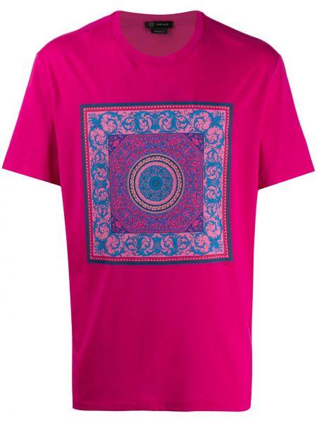 Koszula krótkie z krótkim rękawem z nadrukiem różowy Versace