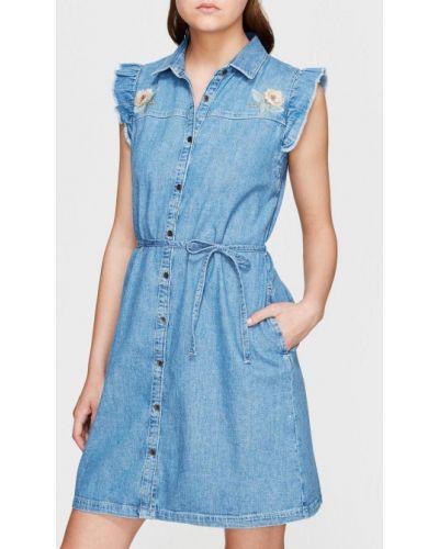 Хлопковое синее платье мини без рукавов Mavi