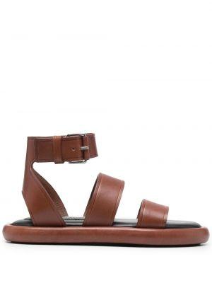 Brązowe sandały skorzane peep toe Proenza Schouler