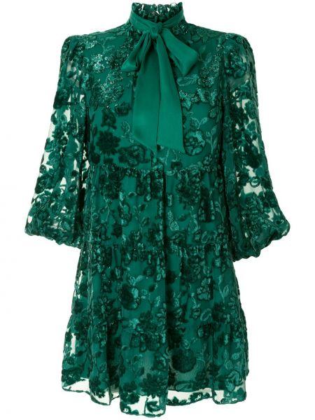 Зеленое расклешенное платье мини с вышивкой с воротником Alice+olivia